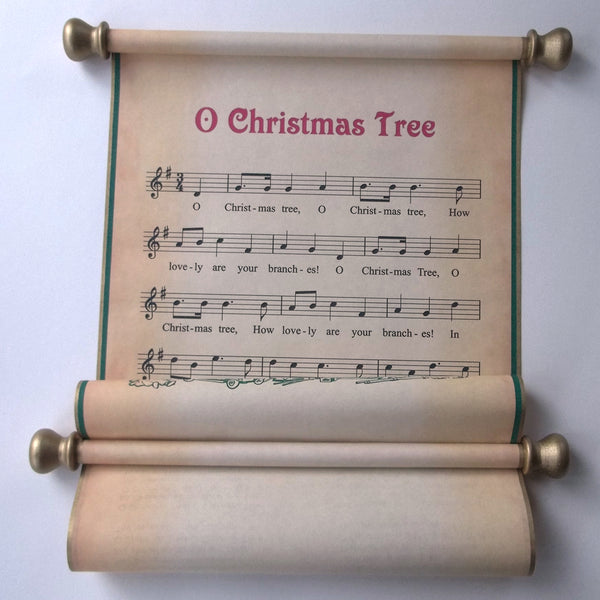 O Christmas Tree rustic music scroll wall hanging, religious scroll
