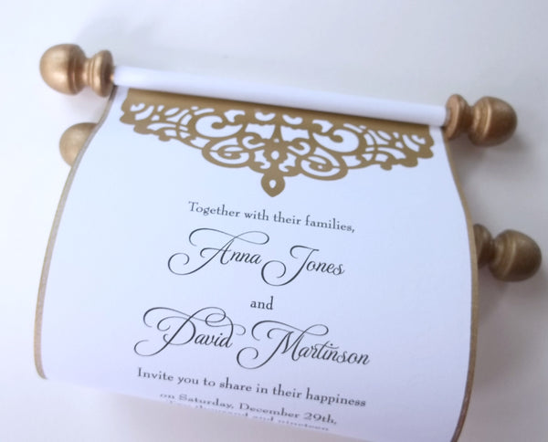 Gold glam wedding invitation scrolls with gold finials and shimmering gold lasercut, set of 10 scrolls