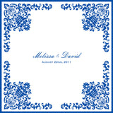 Personalized damask wedding handkerchief with bride and groom names