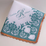 Vintage lace printed wedding handkerchief with custom monogram