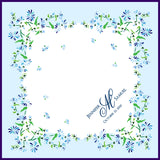 Personalized wedding handkerchief with blue flowers, something blue