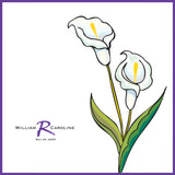 Personalized wedding handkerchief with calla lilies