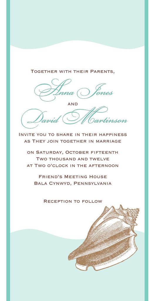 Destination beach wedding invitation suite with scroll, reply card ...