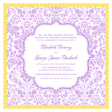 Elegant wedding invitation handkerchief, floral damask in purple and gold, set of 10