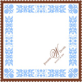 Personalized wedding handkerchief with decorative border and monogram