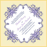 Flower garland invitation handkerchief envelope suite