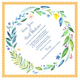 Greenery wedding invitation handkerchief, watercolor wreath, green and gold, set of 10