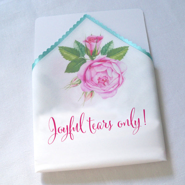 Joyful tears only wedding handkerchief with pink watercolor roses