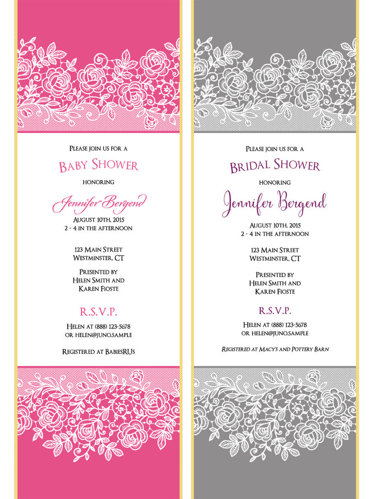 Printed lace baby shower invitation scroll in hot pink set of 10