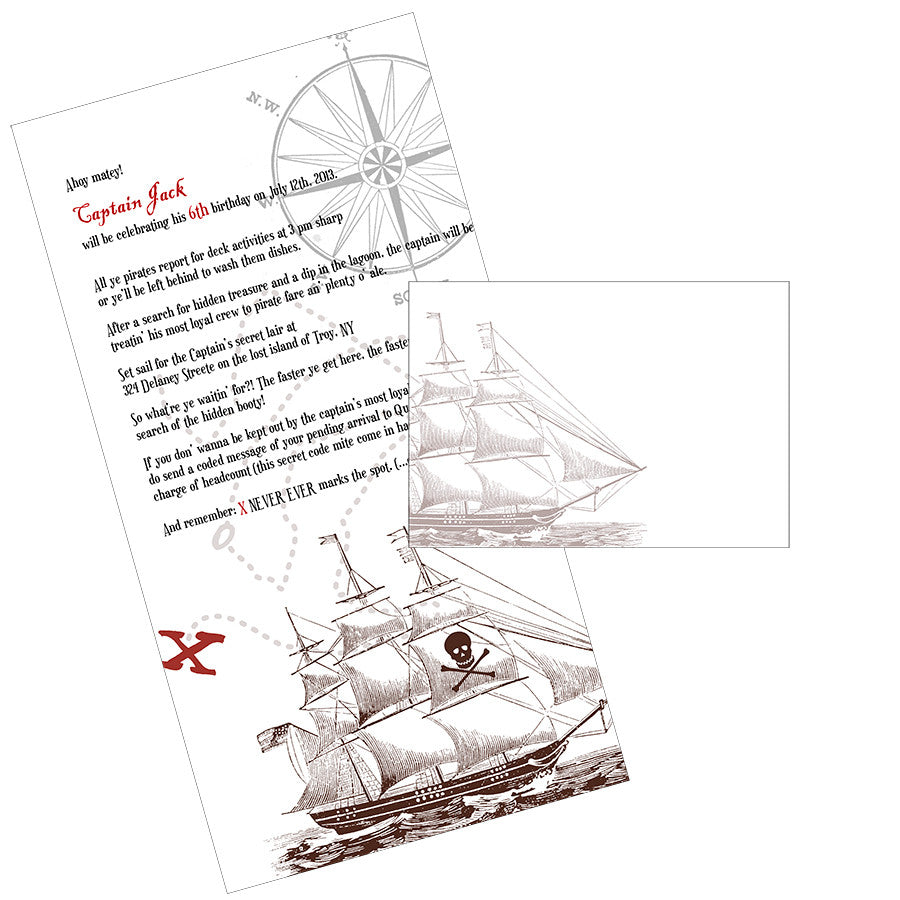 Pirate scroll birthday invitations on canvas fabric with mailing ...
