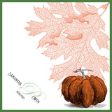 Fall pumpkin wedding handkerchief, personalized with monogram