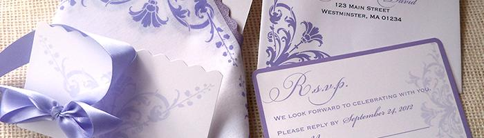 Damask scroll wedding invitation suite by Artful Beginnings