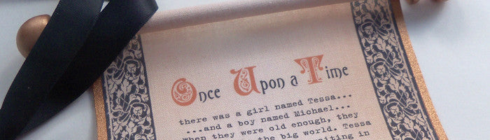 Once upon a time scroll wedding invitation