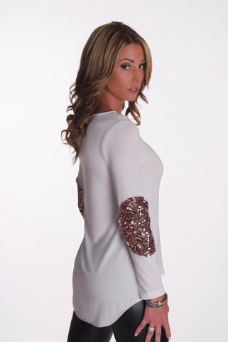 Material Girl Top - White with Gold
