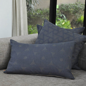 Common Texture set of 3 pure linen cushions featuring hand block printed patterns in indigo blue on dark charcoal grey with contrasting gold zip and leather pull tag.
