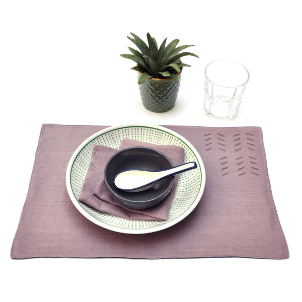 Common Texture hand block printed linen placemat set with matching napkins in dried lavender mauve and grey charcoal.