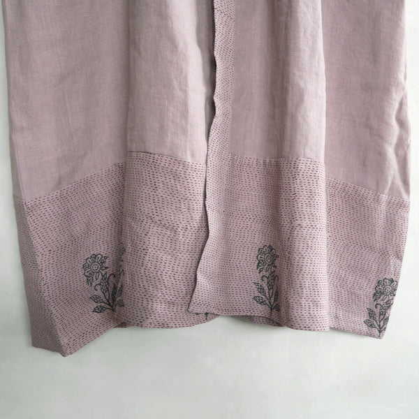Common Texture pure linen full length women's robe Kantha featuring hand block printed details in dried lavender light mauve color.