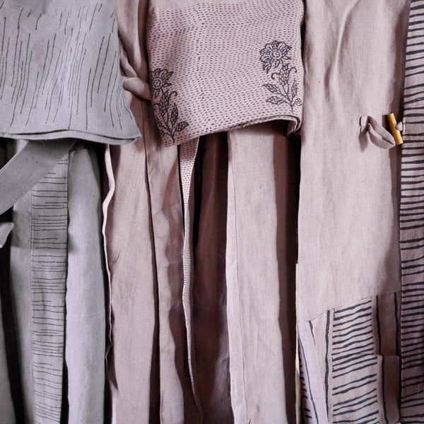 Common Texture pure linen men's and women's robes with hand block printed details,