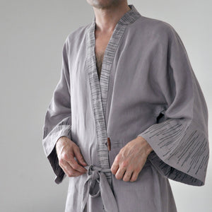 Common Texture pure linen full length men's robe with hand block printed details along the sleeves and collar in warm grey Monsoon color.