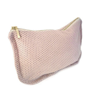 suede leather clutch purse | blush
