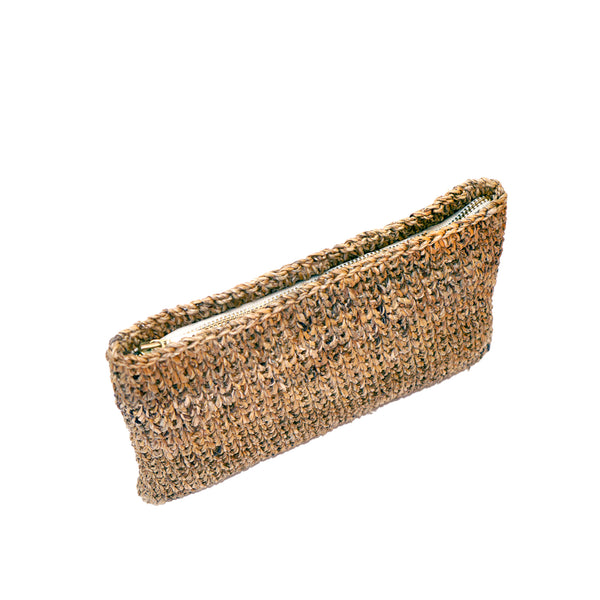 Common Texture handcrafted woven clutch, wallet, evening bag made with natural banana fiber.