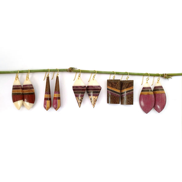 Common Texture Amazonia Dangle Wood Earrings Collection