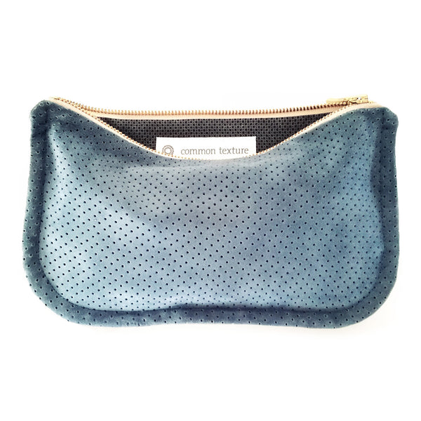 Common Texture soft handcrafted purse, clutch, pouch or evening bag made from upcycled genuine suede leather in light cornflower blue with gold colored zip.