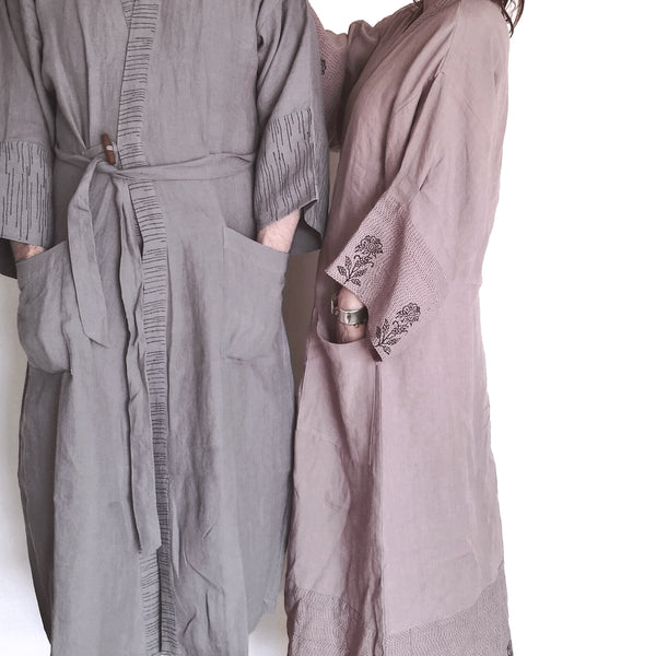Common Texture pure linen full length men's and women's robes featuring hand block printed details.