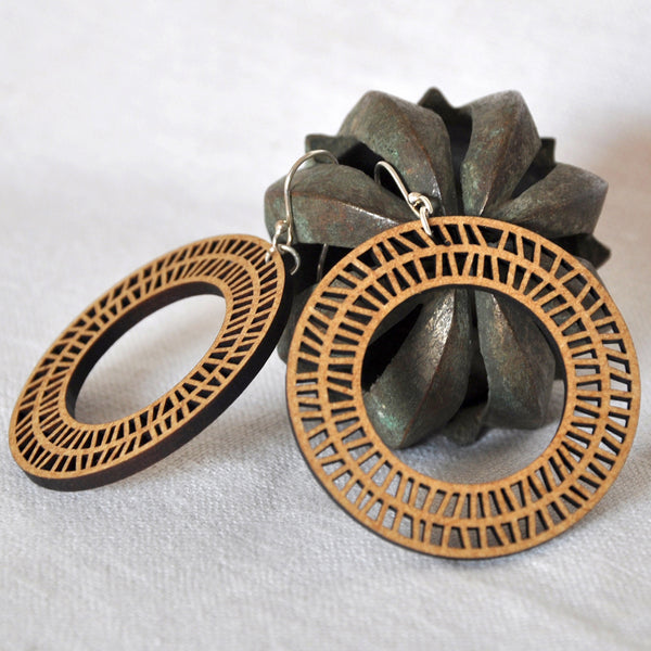 Circular Wood Earrings