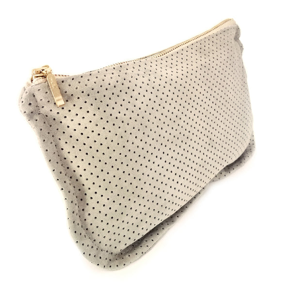 Common Texture soft handcrafted purse, clutch wallet, pouch or evening bag in upcycled suede leather in pale olive green.