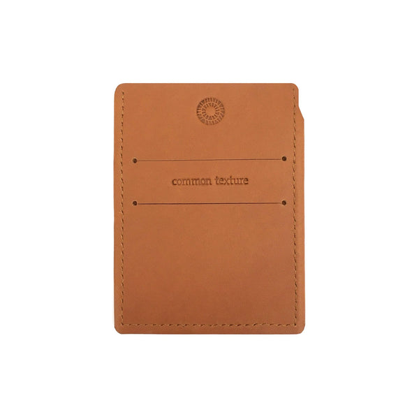 Common Texture slim mens and womens card holder small wallet for credit, business and transport cards in handcrafted veg tan leather.