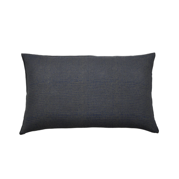 Common Texture lumbar rectangular pure linen cushion cover featuring hand block printed drops in indigo blue on dark charcoal grey with contrasting gold zip and leather pull tag.