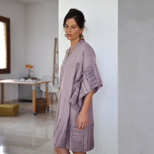 Common Texture pure linen Bamboo Robe for women featuring kimono style sleeves and hand block printed details.