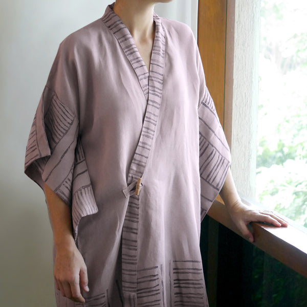 Common Texture pure linen women's robe Bamboo with hand block printed details along the collar and kimono style sleeves.