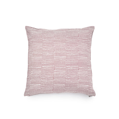 Common Texture square pure linen cushion cover featuring a hand block printed dash pattern in cream on pastel pink with contrasting gold zip and leather pull tag.