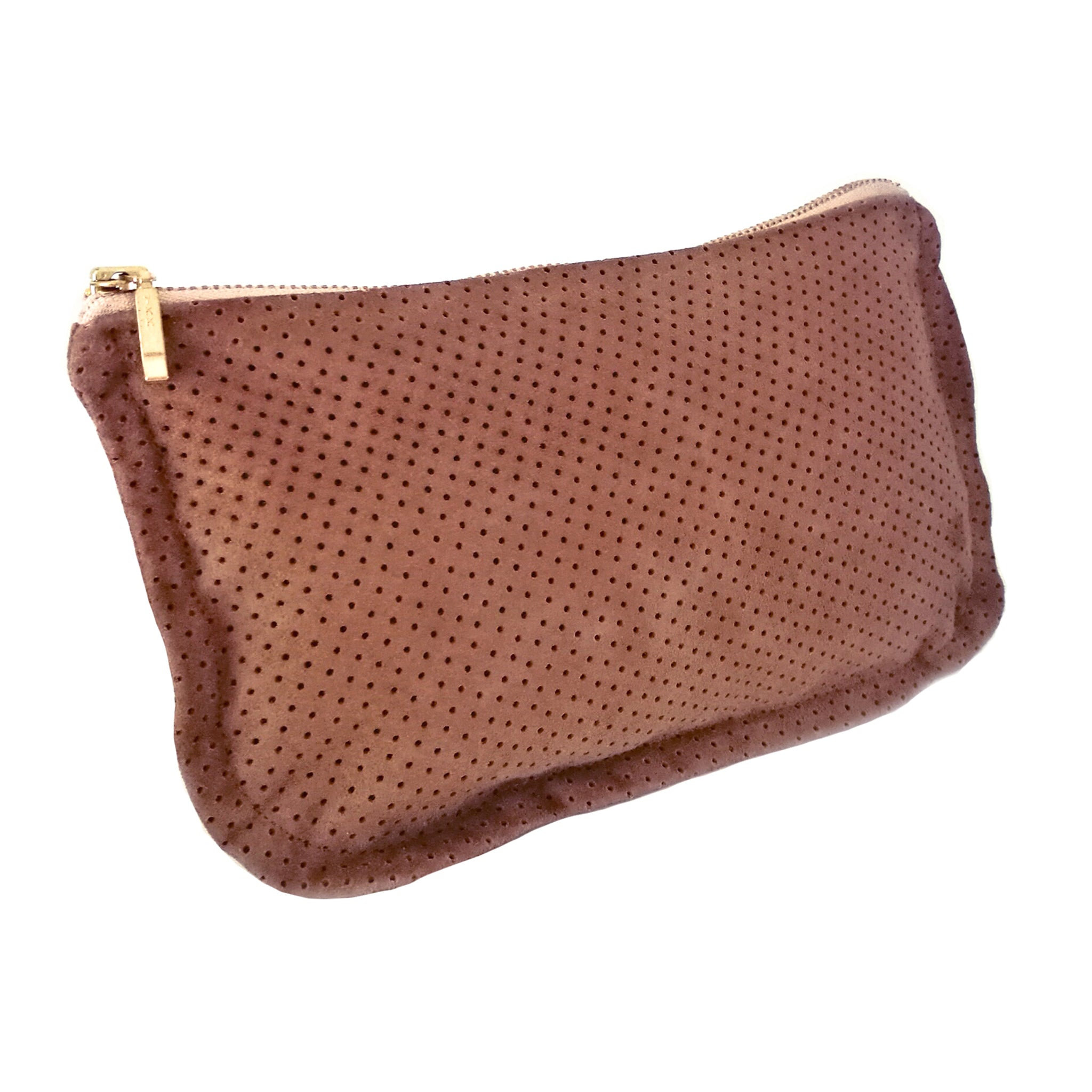 Common Texture soft handcrafted purse, clutch, pouch or evening bag made from upcycled genuine suede leather in chocolate brown teak with gold colored zip.