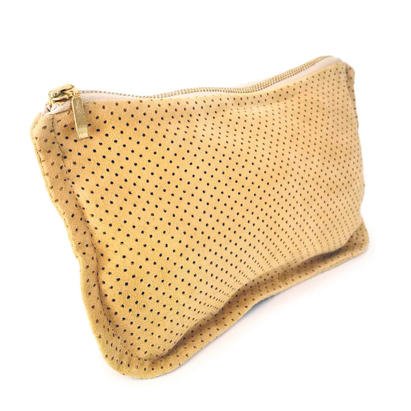 Common Texture soft handcrafted purse, clutch wallet, pouch or evening bag in upcycled suede leather in turmeric mustard yellow.