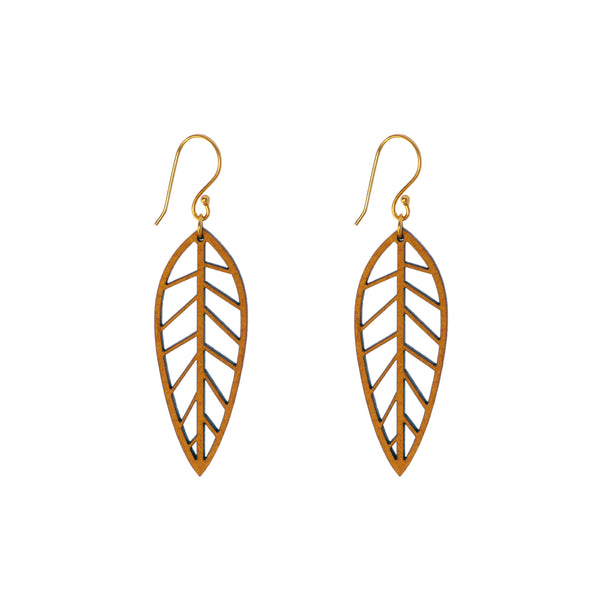 Common Texture laser cut wood drop earrings with a nature inspired leaf design.