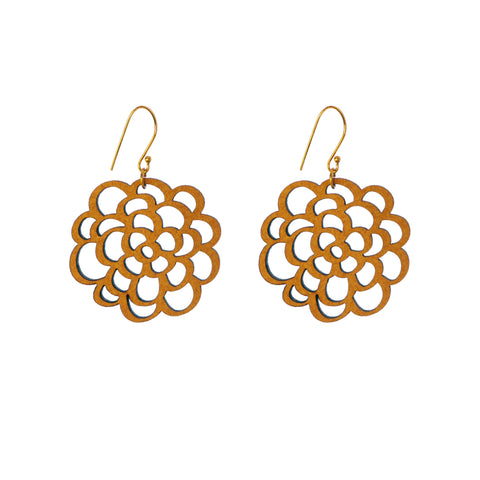 Common Texture laser cut wood drop earrings with a nature inspired blossom flower design.