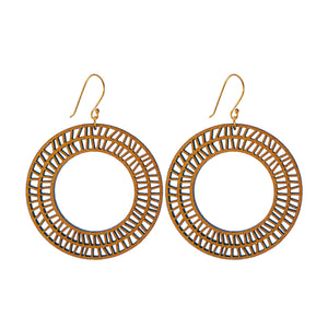 Common Texture laser cut wood drop earrings with a geometic circular hoop design.