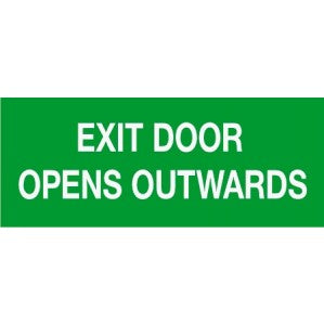 EM58 Signs of safety Exit Door Opens Outwards