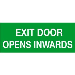 EM62 Signs of safety Exit Door Opens Inwards sign