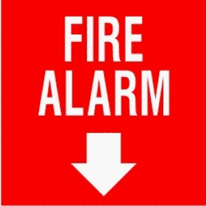 EM73 Signs of Safety Fire Alarm with arrow sign