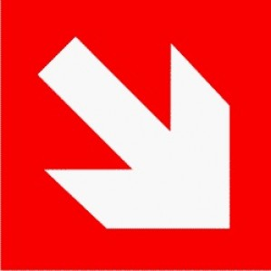 EM84 Signs of Safety Emergency directional arrow sign