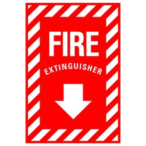 EM86 Signs of Safety Fire Extinguisher with arrow