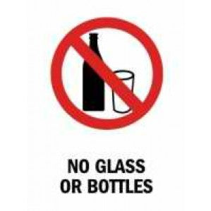 PR67P Signs of Safety Prohibition No Glass or Bottles sign