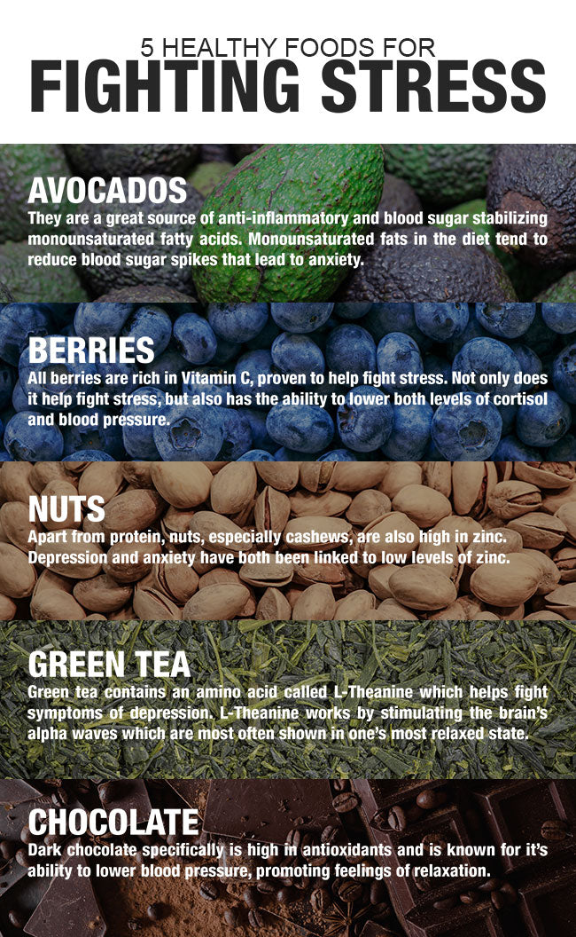 5 Healthy Foods for Fighting Stress Infographic