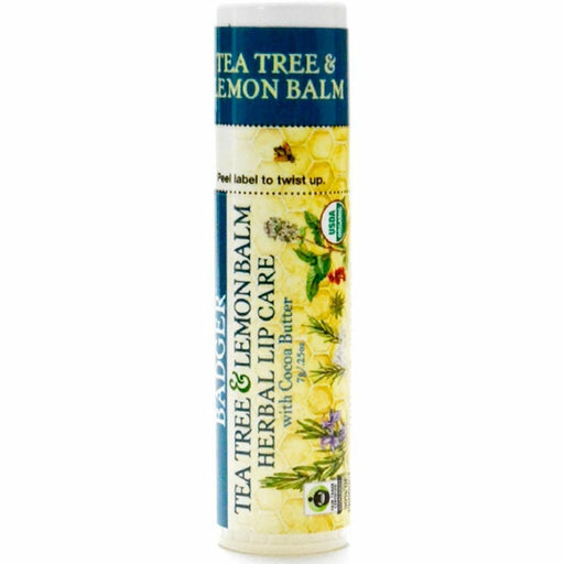 Tea Tree & Lemon CB Lip Balm .25oz by W.S Badger Company