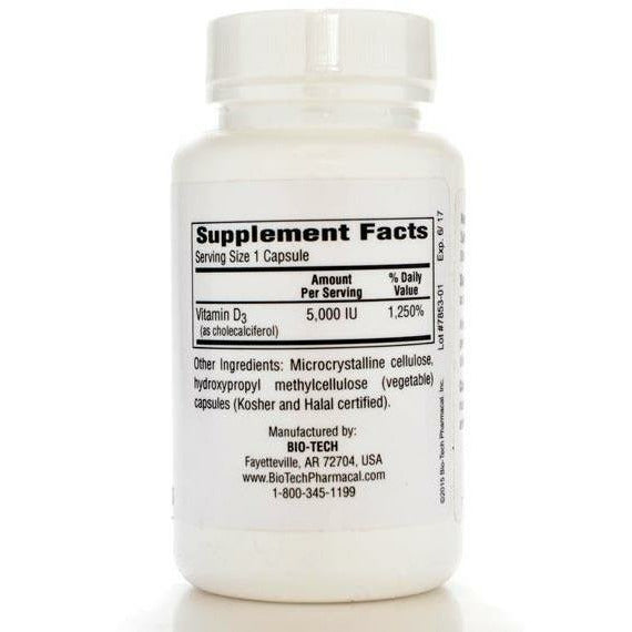 D3-5 5000 IU 250 caps by Bio-Tech Supplement Facts