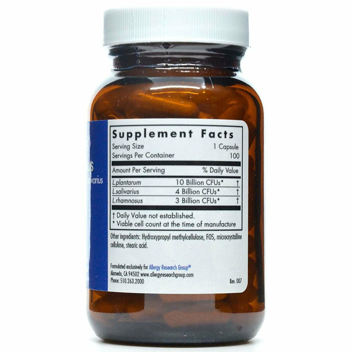 Lactobacillus 100 caps  by Allergy Research Group Supplement Facts